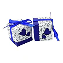 PONATIA 50 Pcs-Pack Heart Shape Wedding Candy Box Sweets Gift Favor Boxes With Ribbon For Wedding Baby Shower Party Event Decoration (Blue)