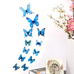 Transer Wall Sticker, 12 Pack Butterflies DIY Removable Wall Decal Living Room Bedroom Decoration (Multicolor)