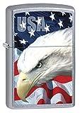 Zippo Custom Lighter: USA Bald Eagle and Flag - Street Chrome 78591
