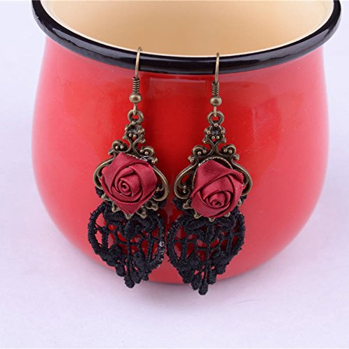Lvxuan Vampire Gothic Punk Dangle Lace Earring Vintage Red Rose Drop Earring Fashion Handmade Earrings - Dangle Lace
