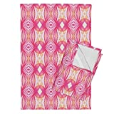 Roostery Polka Dot Mirror Fuschia Watercolor Pen Tea Towels Flare In Peach Pink by Emilysanford Set of 2 Linen Cotton Tea Towels