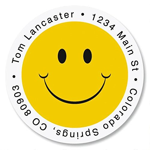 Smiley Face Self-Adhesive, Flat-Sheet Round Address Labels