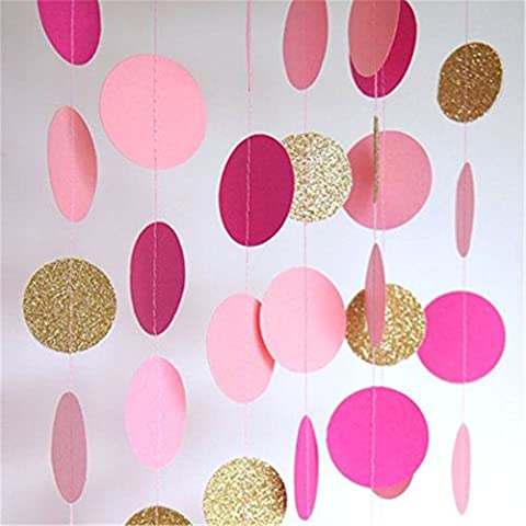 Hangnuo 16.4ft Colorful Dot Paper Garland For Wedding Birthday Anniversary Party Christmas Girls Background Decoration (Dots Ragazzi Tie)