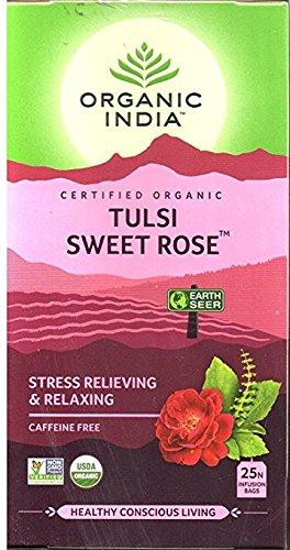 Organic India Tea Tulsi Sweet Rose – 25 Tea Bags For Sale