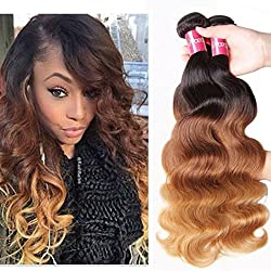 Sunber Brazilian Hair Ombre Virgin Hair Body Wave Bundles Mixed Length 100% Human Hair Extensions #1b/4/27 Color (T1B/4/27,16 18 20)