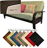 OctoRose Full Size Elastic Around on Backing Bonded Micro Suede Easy Fit Fitted Futon Cover Sofa Bed Mattress Slipcovers...