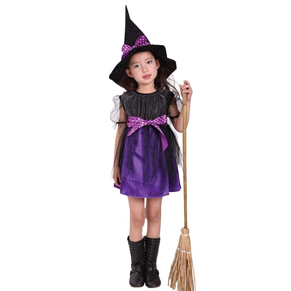 Mbby Costumi Halloween Bambina, Bambino Bambini Baby Girl Vestiti di Halloween 1PC Abito E 1PC Cappello, Halloween Costume Costumi