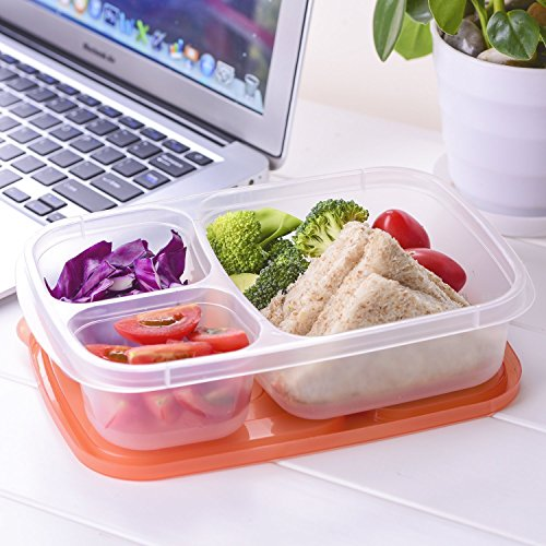 Meal Prep Containers 3 Compartment 10 Pack Food Prep Containers with Lids Portion Control Reauable Freezer Food Storage Plastic Salad Stackable Bento Lunch Box, Microwave, Dishwasher Safe by SCIONE (Image #6)'