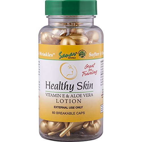 Healthy Skin Vitamin E & Aloe Vera Lotion, 60 Breakable Capsules (3 Pack) - Locion Para el Cuidado de la Piel, Softer and Smoother Skin for Scars, Sunburns, Wrinkles. Great for Travel