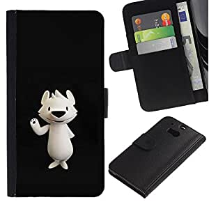 A-type (Polar Bear Cartoon Black Nose) Colorida Impresión Funda Cuero Monedero Caja Bolsa Cubierta Caja Piel Card Slots Para HTC One M8