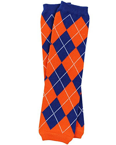 juDanzy Sport Team Fan baby & toddler leg warmers in a variety of colors (One Size (12 pounds to 10 years), Team Blue and Orange Argyle)