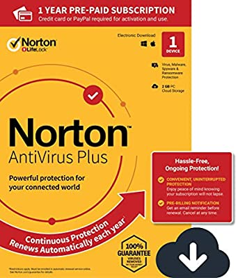 NEW Norton AntiVirus Plus – Antivirus software for 1 PC or Mac with Auto Renewal – Includes Password Manager, Smart Firewall and PC Cloud Backup