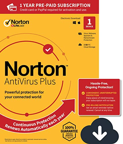 NEW Norton AntiVirus Plus - Antivirus software for 1 Device with Auto-Renewal - Includes Password Manager, Smart Firewall and PC Cloud Backup - 2020 Ready [Download]