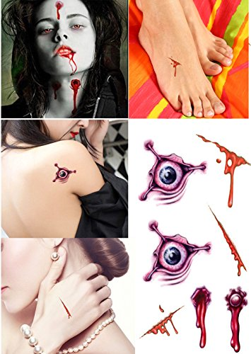 AG-So-So Halloween Tattoos, Scar Wound Temporary Tattoo, 9 Pack Waterproof Horror Realistic Fake Bloody Injury Stitch Scar, Scar Makeup Bleeding Wound Blood for Party Prop, Zombies Cosplay Costume by