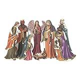 Gold Tone Filigree Trim 7 inch Resin Stone Christmas Nativity 8 Piece Figurine Set