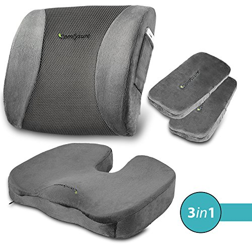ComfySure 3 Piece Seat Cushion Set - Back Lumbar Support, Tailbone Coccyx Orthopedic Pain Relief, 2 Padded Armrest Covers - Memory Foam, Removable Plush Covers - Fits Most Office Computer Chairs