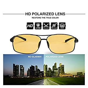 Mens Womens Classic Retro Night Vision Driving Glasses Polarized Anti-glare Rain Day Sun Glasses