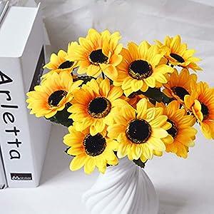 Sun·Light 1pcs Artificial Flowers Sunflowers Fake Flower Bush Bouquet Home Wedding Home Room Centerpiece Party DIY Craft Decor 21