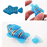 1Pcs Robofish Electronic Toy Activated Battery Powered Robo Fish Kids Robotic Pet Magical Novel Turbot Swimming Clownfish Blue Color