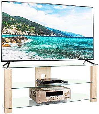 RFIVER Mueble de TV Salon de Esquinero de Cristal de Ancho de ...