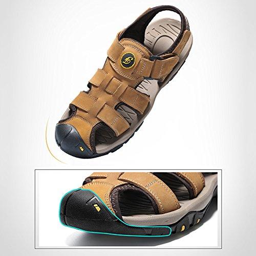 per Pelle con Spiaggia 47 Khaki di Escursionismo Outdoor Scarpe Antiscivolo Sandali Deodorante in La Alpinismo Chiusa Vera Uomo Grandi Pantofole da 38 Dimensioni Punta SC06vqxw