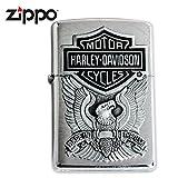 Zippo Lighter 200HD.H284 Harley Davidson Logo Emblem Brushed Chrome Windproof NEW