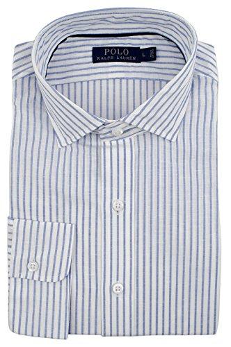 76342d3821f Ralph Lauren Men s Striped Classic Fit Cotton Linen Long Sleeve Shirt-B-XXL  Blue