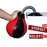 REEHUT Desktop Punching Bag/Ball Stress Buster, Stress Relieve, with Strong Suction Cup, Pump Equipped, Designed for Work, a Great Gift for Yourself, Boss and Co-Workers (Red+Black)