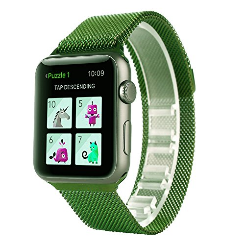 Apple Watch Milanese loop, SOWELL Stainless Steel Bracelet Replacement Mesh Bands for Apple Watch (42MM Green)