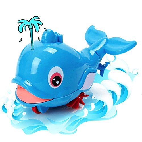 NEEDOON Baby Bath Water Spray Dolphin Wind Up Floating Water Toy, Wind up Floating Water To,Pull and Go CuteToy for Kids and Toddlers,Swimming Pool Water,Fun Bathing Time