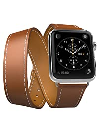 Apple Watch Band Series 1 Seris 2, MoKo Luxury Genuine Leather Watch Band Strap Double Tour Replacement for 38mm Apple Watch 2015 & 2016 All Models, BROWN (Not Fit 42mm Versions)
