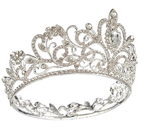 Gold Tone Crown (Wiipu Luxury Gold-tone Drop Queen Pageant Prom Crystal Wedding Bridal Tiara Crown(A1072) (silver))