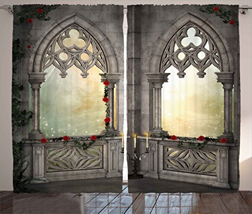 Ambesonne Gothic Decor Curtains, Vintage Ottoman Palace Balcony for Sultans with Red Rose Flowers Ivy Terrace Image, Living Room Bedroom Window Drapes 2 Panel Set, 108 W X 90 L Inches, Beige