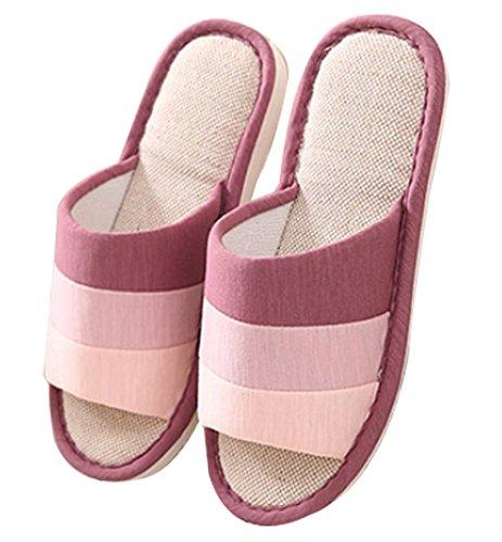 Cattior Chaussures De Maison De Femmes Chaussures Dames Spa Pantoufles Bout Ouvert Violet Rouge