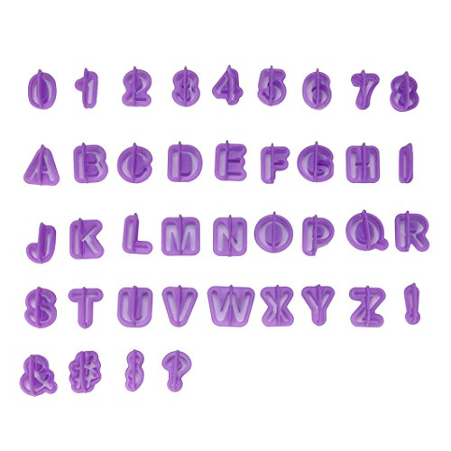 Dolloress Purple 40pcs/Set Alphabet Number Letter Patterns Icing Cutter Mold Mould Fondant Cake ()