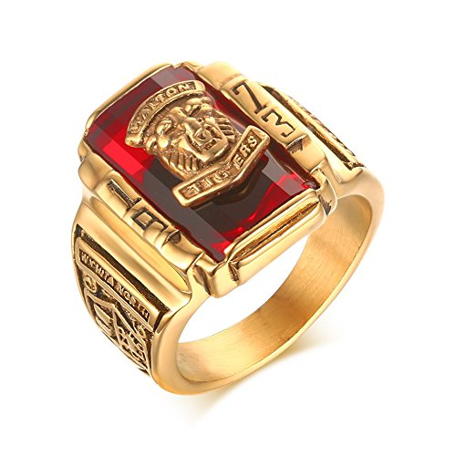 - VNOX Stainless Steel Red Rhinestone 1973 Walton Tigers Signet Ring for Men,18K Gold Plated Size 11