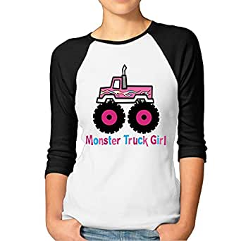 Amazon.com: JTCY Monster Truck Girl Women's 3/4 Sleeve