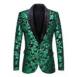 PYJTRL Men Fashion Velvet Sequins Floral Pattern Suit Jacket Blazer (Green, M/40R)