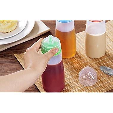 ON GATE Kitchen Plastic Squeeze Bottle Condiment Dispenser for Sauce Vinegar Oil Ketchup Cruet Bottles (Set of 2) 13