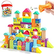 TOP BRIGHT Wooden Building Blocks Set for Toddlers,Baby Blocks for 1 Year Old 80 Piece