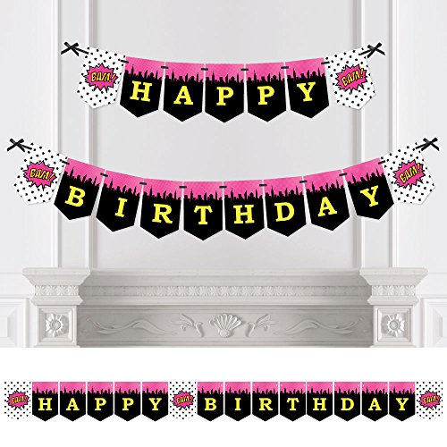 BAM! Girl Superhero - Birthday Party Bunting Banner - Comic Book Party Decorations - Happy Birthday -