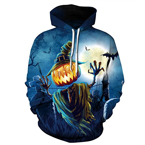 Hulaha Unisex Pumpkin Plus Size Halloween Hooded Pullovers