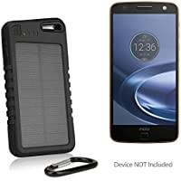 Motorola Moto Z Force Droid Battery, BoxWave [Solar Rejuva PowerPack (5000mAh)] Solar Powered Backup Power Bank for Motorola Moto Z Force Droid - Jet Black