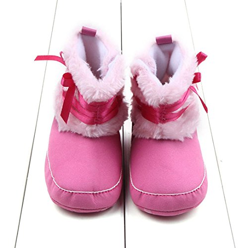Hunpta Babyschuhe Mädchen Jungen Lauflernschuhe Kleinkind Schneestiefel Kleinkind Baby Mädchen Bowknot weiche Sohle Prewalker Krippe Schuhe (13, Hot Pink) Hot Pink