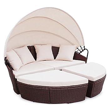 POLY RATTAN Sunbed Lounge Gartenset Sofa Garnitur Polyrattan Gartenmöbel ( Braun)