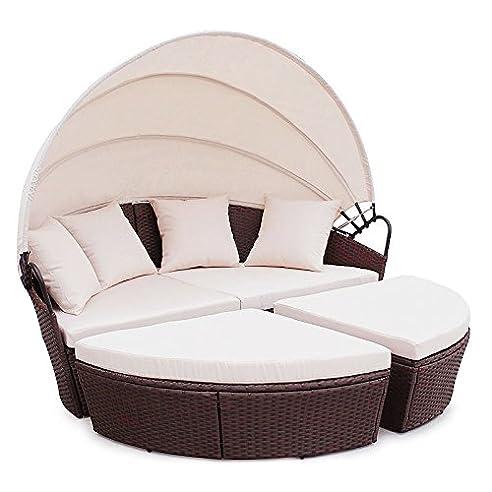 Gartenlounge rattan mit dach  Amazon.de: POLY RATTAN Sunbed Lounge Gartenset Sofa Garnitur ...
