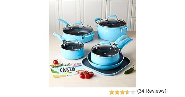 Tasty - Juego de utensilios de cocina antiadherentes, 11 piezas, reforzados con diamantes, sin PFOA, color azul: Amazon.es: Hogar