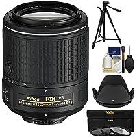 Nikon 55-200mm f/4-5.6G VR II DX AF-S ED Zoom-Nikkor Lens with 3 Filters + Hood + Tripod Kit (Certified Refurbished)