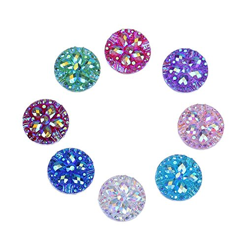 - Whitelotous 50pcs 12mm Round Flower Flatback Resin Crystal Rhinestone DIY Craft Jewelry Accessories(4)