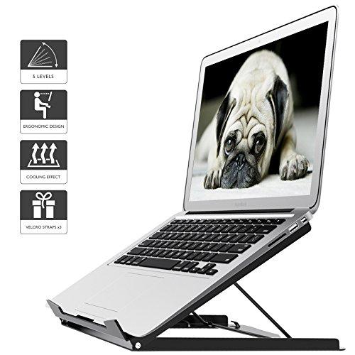1home Adjustable Laptop Stand Ergonomic Desktop Holder Portable Riser for MacBook Notebook, Black